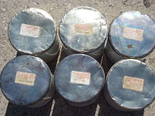 vintage dairy ice cream bucket lot, 6 primitive tin canisters w/ lids