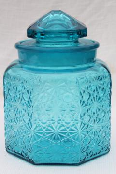 vintage daisy and button glass canister jar w/ lid, aqua blue glass