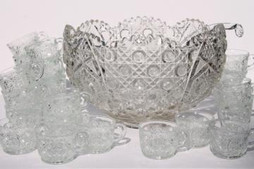 vintage daisy & button pattern glass punch set, huge punch bowl w/ cups & glass ladle