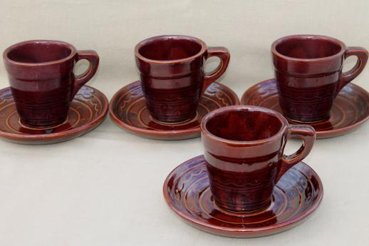 vintage daisy dot brown Marcrest stoneware pottery, cups & saucers set of 4