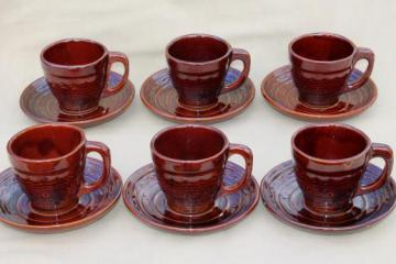 vintage daisy dot brown Marcrest stoneware pottery, cups & saucers set of 6