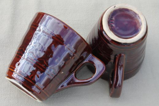 vintage daisy dot brown Marcrest stoneware pottery, ring handle cups or coffee mugs