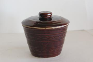 vintage daisy dot brown glazed stoneware grease jar, Marcrest Monmouth pottery
