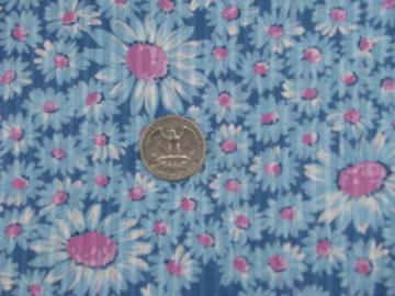 vintage daisy print cotton voile, sheer shadow stripe floral fabric