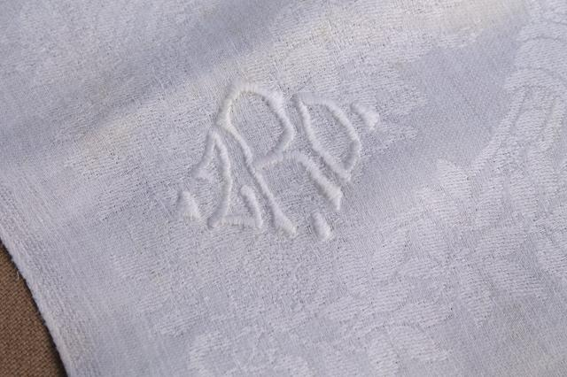 vintage damask cloth napkins embroidered w/ R monogram, cotton or linen damask table linens