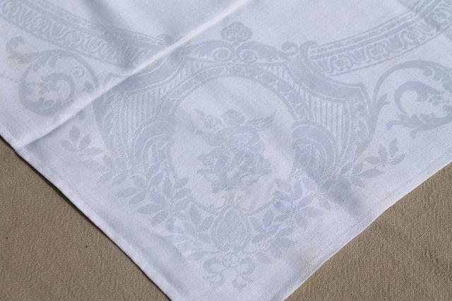 damask cloth napkins embroidered w/ r monogram, cotton or linen
