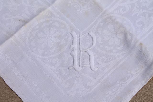 vintage damask cloth napkins embroidered w r monogram cotton or linen damask table linens