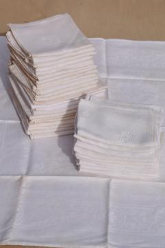 vintage damask cloth napkins embroidered w/ R monogram, cotton or linen damask table linens