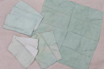 vintage damask napkins, pastel colored linen damask fabric in mint green & pale jade