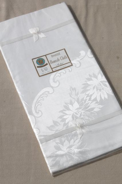 Vintage Damask Tablecloth Still Sealed, 70 Inch Round Japan Cotton Rayon  White Damask Cloth
