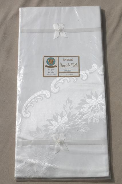 vintage damask tablecloth still sealed, 70 inch round Japan cotton rayon white damask cloth