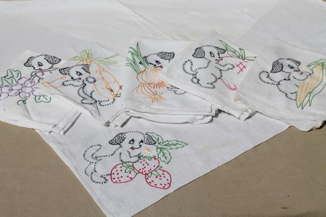 Etonnant Vintage Days Of The Week Embroidered Cotton Flour Sack Towels, Puppies W/  Fruit U0026 Veggies