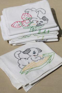 vintage days of the week embroidered cotton flour sack towels, puppies w/ fruit & veggies