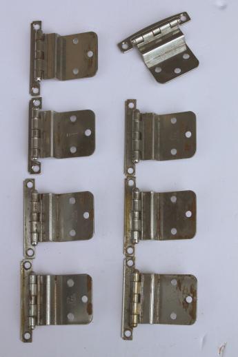 vintage deco chrome hinges, kitchen cabinet hardware cupboard door ...