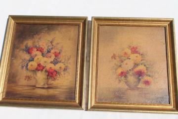 vintage decorator prints, french style floral still-life pictures in gold wood frames