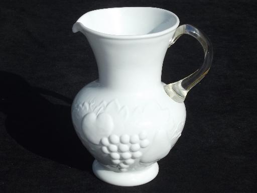 vintage della robbia embossed fruit milk glass pitcher, clear applied handle