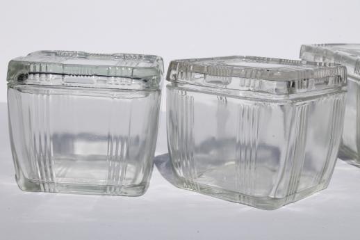Vintage Depression Glass Fridge Boxes Set Criss Cross Refrigerator