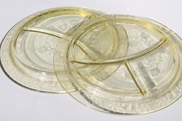 vintage depression glass grill plates, yellow glass divided plates Florentine poppy #2