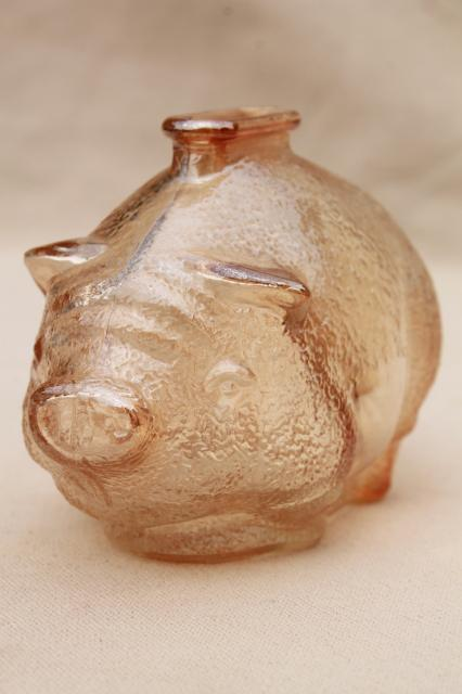 Vintage Depression Glass Piggy Bank Coin Savings Bank