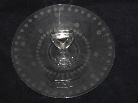 vintage depression glass sandwich or petit fours plate