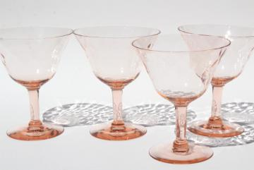 vintage depression glass sherbet dishes or champagne glasses, blush pink hex optic