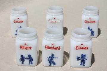 vintage depression glass spice set, deco milk glass shaker jars red & blue dutch designs
