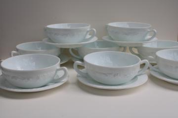 vintage depression glass, white milk glass cream soup bowls Anchor Hocking Vitrock