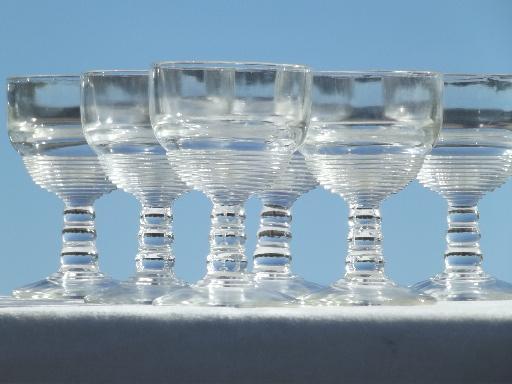Vintage Depression Glass Wine Glasses Banded Ring Pattern