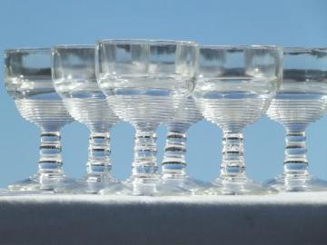 vintage depression glass wine glasses, banded ring pattern pressed glass