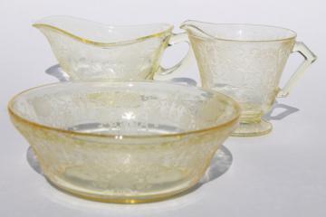 vintage depression glass yellow Hazel Atlas Florentine #2 poppy bowl, gravy & cream pitcher