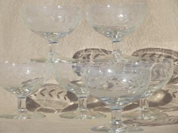 vintage dessert dishes set, crystal clear glass w/ etched laurel & lines