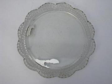 vintage dew drop teardrop hobnail pattern pressed glass vanity tray
