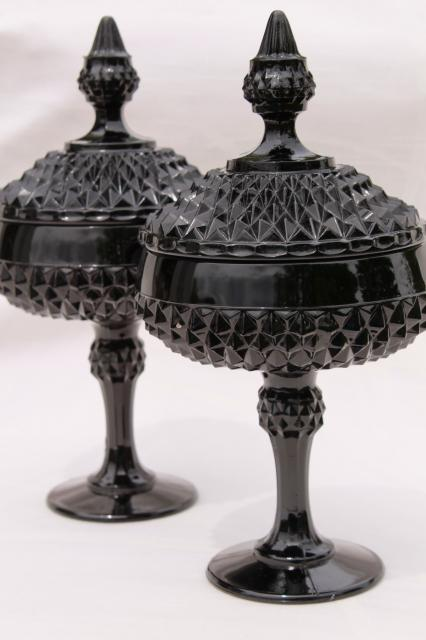 vintage diamond point black glass apothecary jars, Tiara / Indiana glass candy dish pair