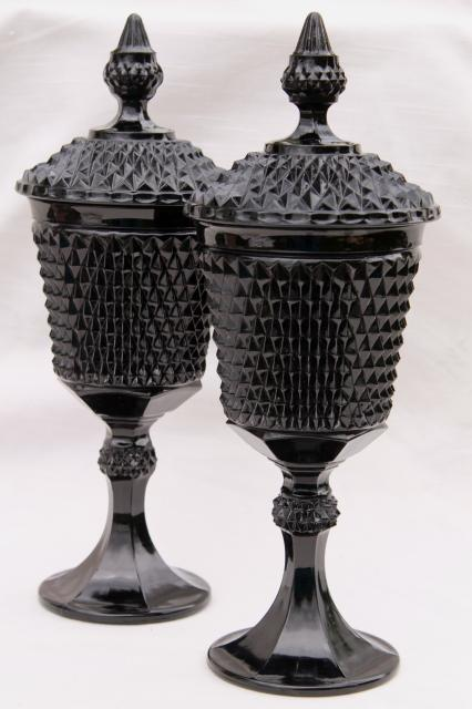 vintage diamond point black glass apothecary jars, Tiara / Indiana glass tall candy dish pair