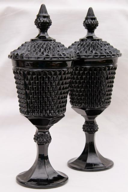 vintage diamond point black glass apothecary jars  tiara