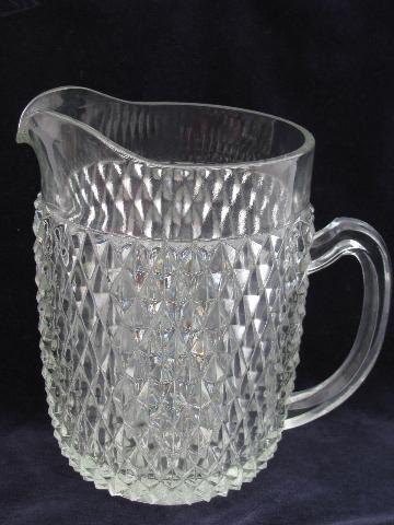 Vintage Diamond Point Pattern Water Pitcher Indiana Glass