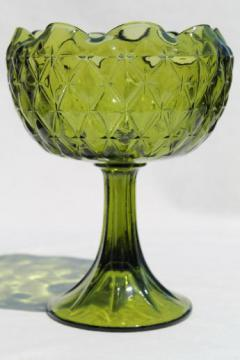 vintage diamond quilt pattern Indiana glass compote, retro green ivy bowl vase