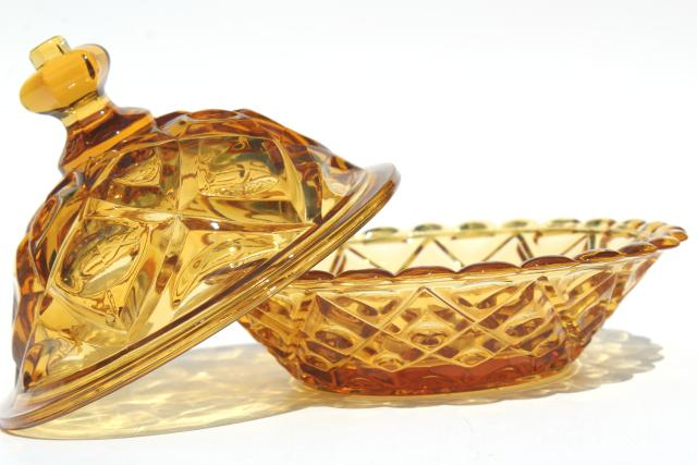 vintage diamond thumbprint pattern amber glass round covered butter dish