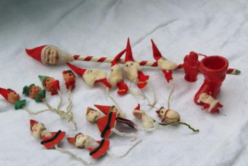 vintage dime store Christmas novelties, plastic toys chenille stem felt decorations