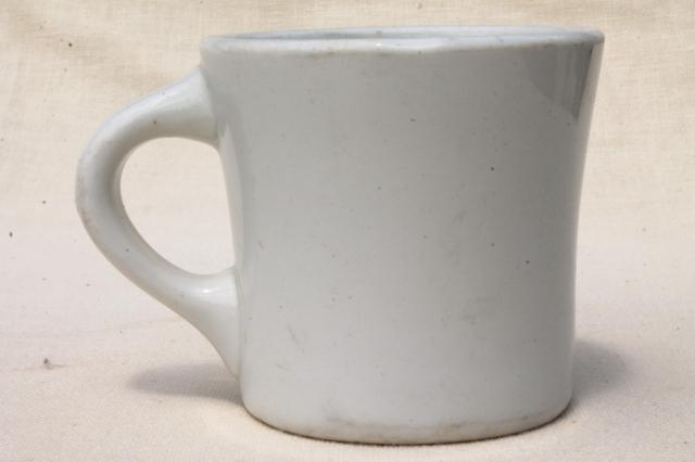 vintage diner coffee mug, Warwick china heavy white ironstone restaurant ware coffee cup