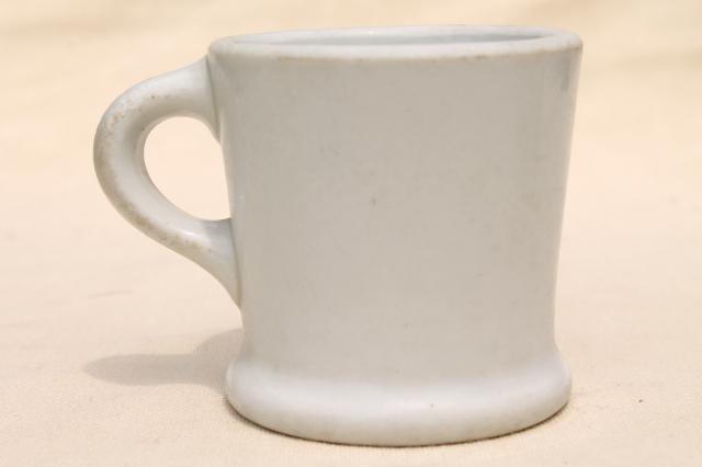 vintage diner coffee mug, heavy white ironstone china restaurant ware coffee cup