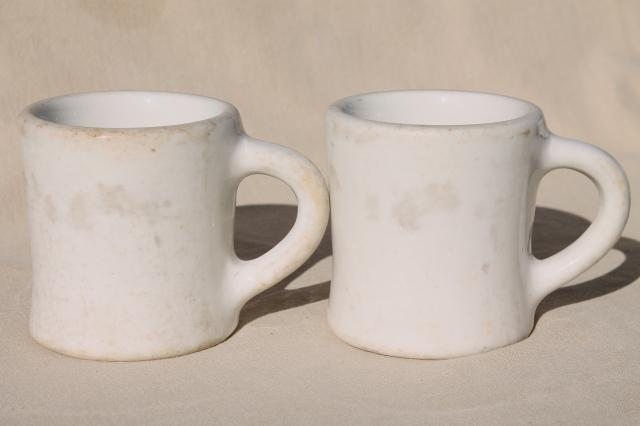 vintage diner coffee mugs, heavy white ironstone china restaurant ware coffee cups