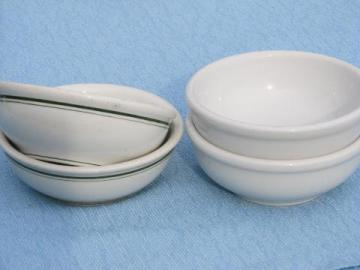 vintage diner soup / chili bowls, white & green band ironstone china