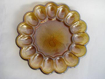 vintage divided glass egg plate tray, Indiana marigold carnival luster