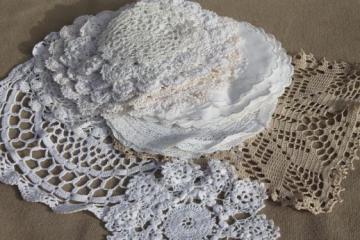 vintage doily lot - crochet lace doilies, table mats, coasters, goblet rounds