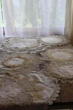 vintage doily lot, linen and lace table mats doilies - rustic wedding decor