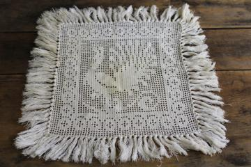 vintage doily or table mat, fringed peacock picture filet crochet cotton lace