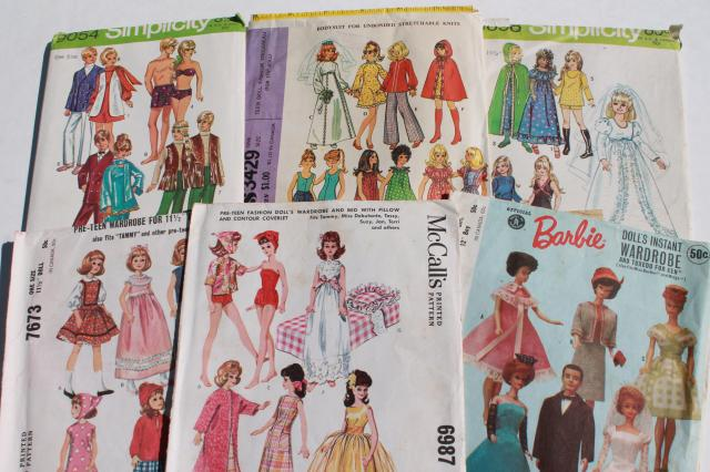 vintage doll clothes sewing patterns lot, fashion dolls Barbie & Ken