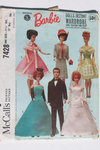 Vintage Doll Clothes Sewing Patterns Lot Fashion Dolls Barbie Ken