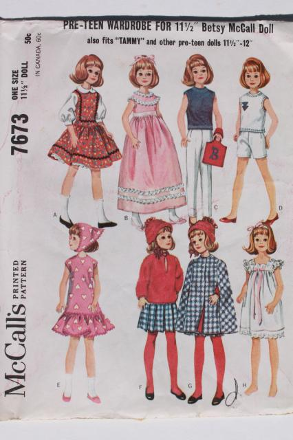 vintage doll clothes sewing patterns lot, fashion dolls Barbie & Ken ...